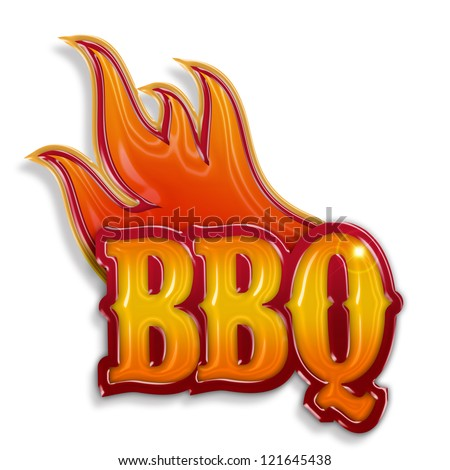 hot barbecue label isolated on white background - stock photo