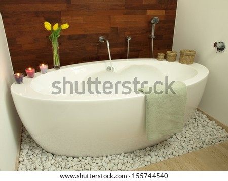 Hot bath with fruity aroma and foam - stock photo