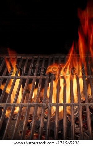 Hot BBQ Grill and Burning Fire. You can see more BBQ, grilled food, flames and fire on my page. - stock photo
