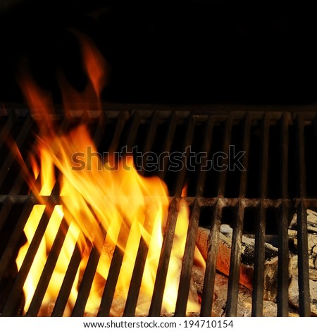 Hot BBQ Grill, Bright Flames and Burning Coals. You can see more BBQ, grilled food, fire&flames in my set. - stock photo