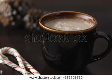 Hot Beverage and Cookies - shallow depth of field - stock photo