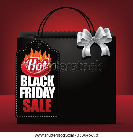 Hot Black Friday sale tag and shopping bag background.  - stock photo