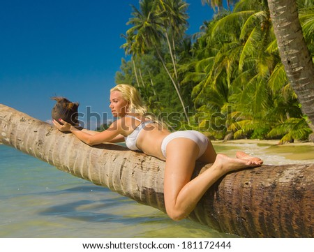 Hot Blonde Exotic Hideaway  - stock photo