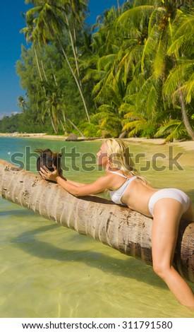 Hot Blonde Woman In Bikini  - stock photo