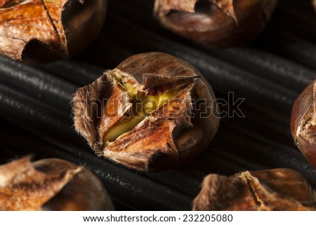 Hot Brown Roasted Chestnuts Ready to Eat