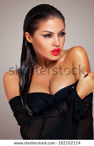 Hot brunette with a tan - stock photo