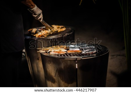 Hot Charcoal Barbecue Grill for wedding party.