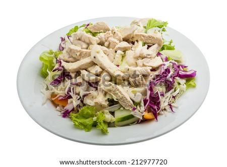 Hot Chicken salad with cabbage - stock photo