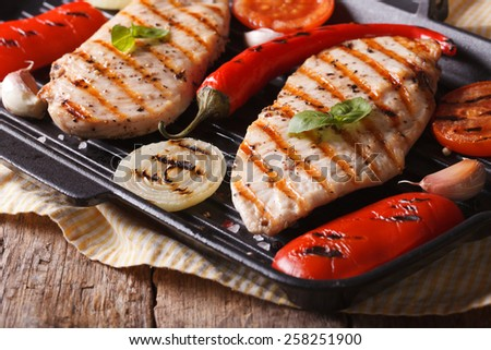 Hot chicken with peppers and tomatoes in a skillet grill closeup. horizontal