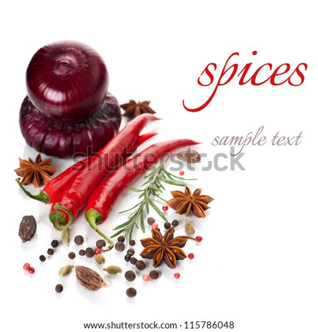Hot chili peppers and spices on a white background (with sample text) - stock photo