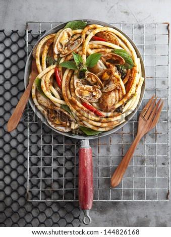 Hot chill Clams spaghetti.-top view - stock photo