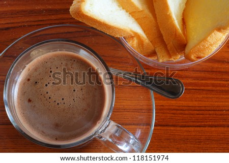 Hot chocolate and bread - stock photo