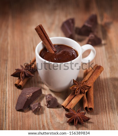 Hot chocolate, chocolate chips, cinnamon and star anise - stock photo