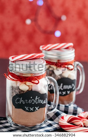 Hot chocolate Christmas gift in a jar - stock photo