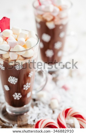 Hot chocolate delicious Christmas drink - stock photo