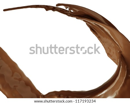 Hot chocolate flow or splash isolated over white background - stock photo