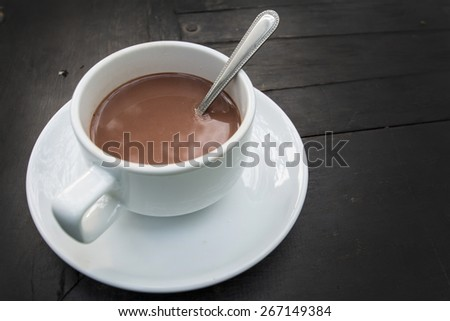 Hot Chocolate in a cup on the table - stock photo