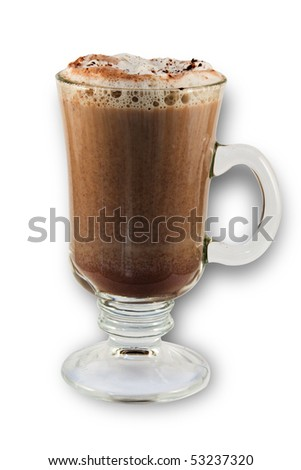 hot chocolate in a glass cup on white background - stock photo
