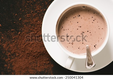 hot chocolate in white mug with cocoa powder - stock photo