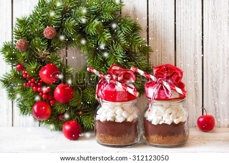 Hot chocolate mix with marshmallow for Christmas presents or cooking holiday drink. - stock photo
