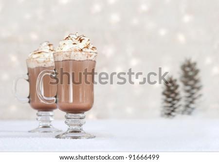 hot chocolate on winter background - stock photo