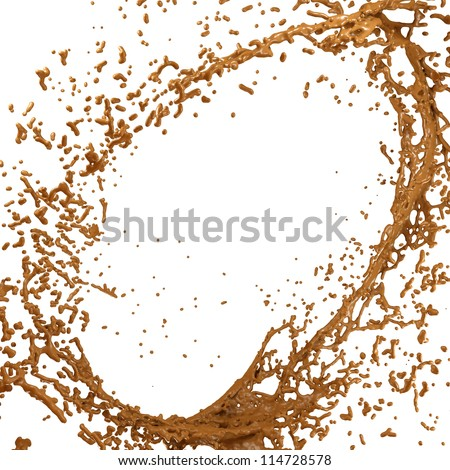 Hot chocolate or cocoa splash and droplets isolated over white - stock photo