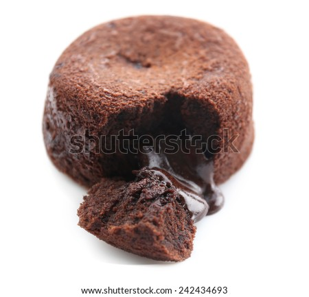 Hot chocolate pudding with fondant centre isolated on white