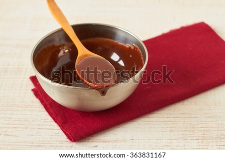 Hot chocolate sauce in a bowl