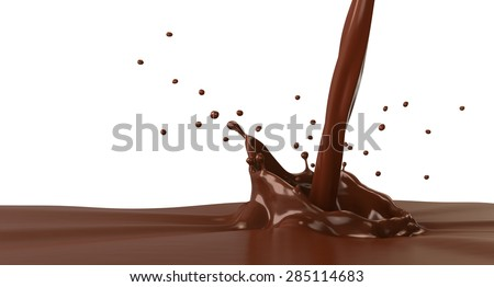 Hot chocolate splash with pouring, isolated on white.