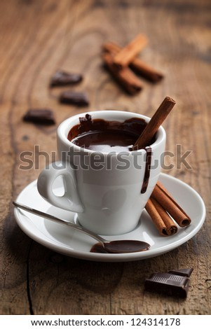 hot chocolate with cinnamon - stock photo