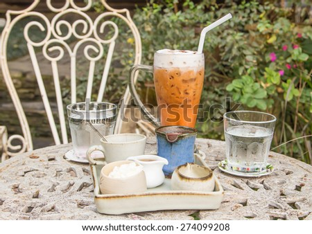 Hot chocolate with cold coffee - stock photo
