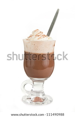 Hot chocolate with cream on top over white - stock photo