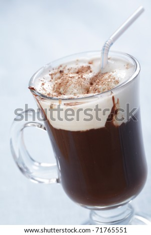 Hot chocolate with ice cream in the glass