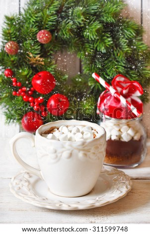 Hot chocolate with marshmallow for christmas holiday.