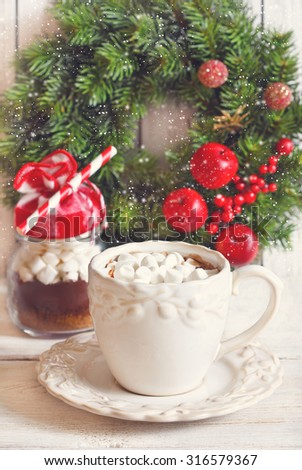 Hot chocolate with marshmallow for christmas holiday. Toned photo.