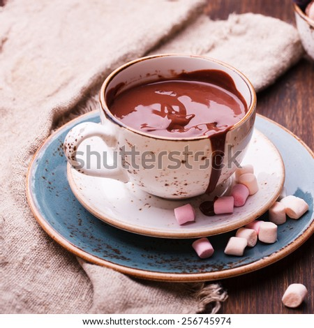 Hot chocolate with marshmallow.selective focus. - stock photo