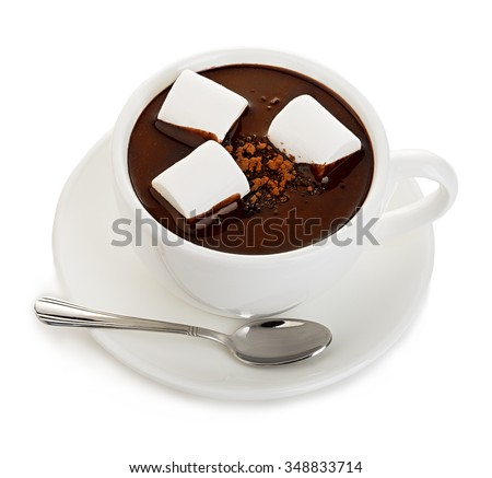 Hot chocolate with marshmallows close-up isolated on a white background. - stock photo