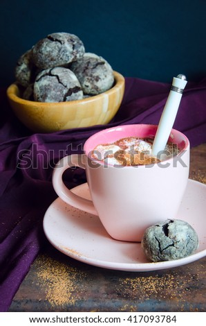 Hot chocolate with marshmallows in pink cup with saucer and shortbread on vintage, selective focus - stock photo