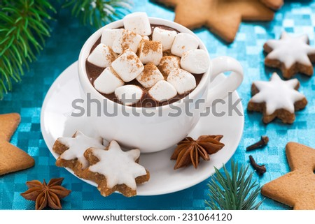 hot chocolate with marshmallows on a blue background, top view, close-up - stock photo