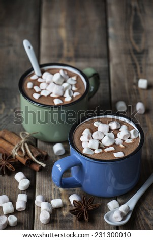 Hot chocolate with marshmallows on wooden background - stock photo