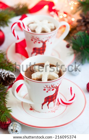 Hot chocolate with marshmallows snowflakes