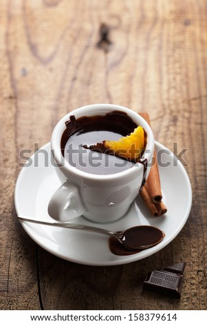 hot chocolate with orange and cinnamon - stock photo