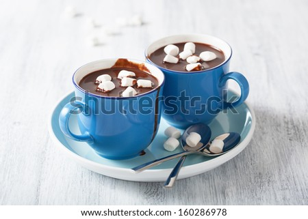 hot chocolate with small marshmallows - stock photo