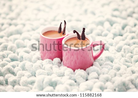hot chocolate with vanilla - sweet food - stock photo
