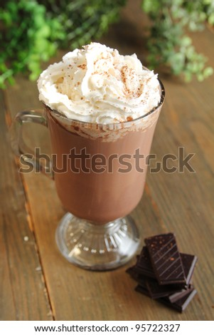 Hot chocolate with whipped cream and chocolate pieces