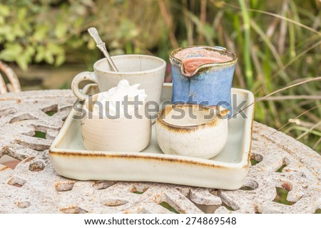 Hot chocolate with whipped cream and syrup - stock photo