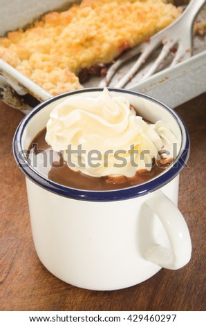 hot chocolate with whipped cream in a white and blue enamel mug