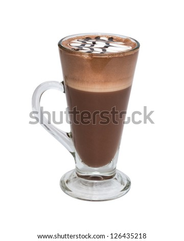 Hot chocolate with whipped cream in mug on white background - stock photo