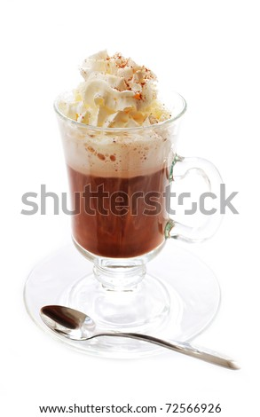 Hot chocolate with whipped cream, isolated on white