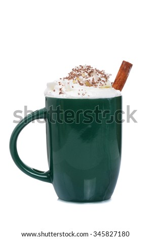 hot chocolate with whipped cream isolated white background - stock photo